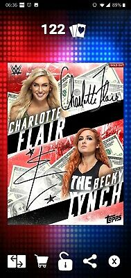Topps WWE SLAM Digital 2019 Red MITB Becky Lynch & Charlotte Flair Signature