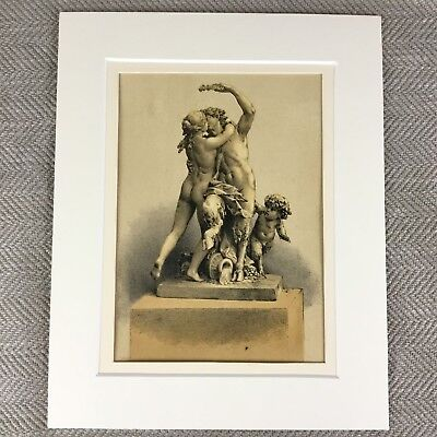 1857 Old French Louis XVI Bacchus God of Wine Statue Chromolithograph Print