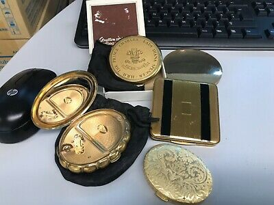 Vintage Powder Compacts x5 boxed stratton, musical KG Rococo London, Avon, other