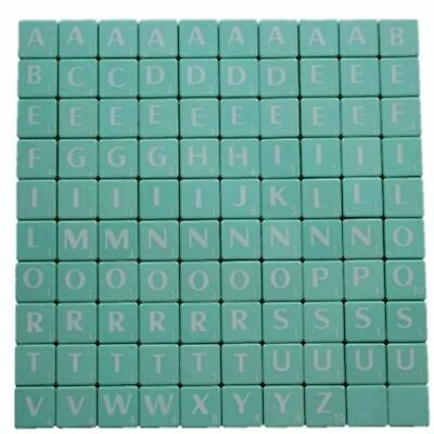 100 Plastic Scrabble Tiles Light Green Letters Numbers For Crafts Alphabets Play