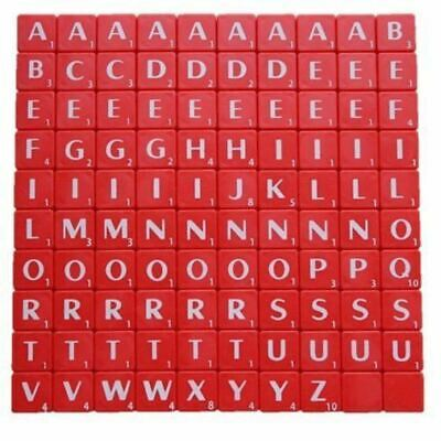 100 Plastic Scrabble Tiles Red Letters Numbers For Crafts Alphabets Play