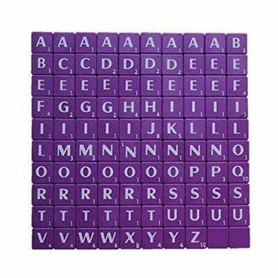 100 Plastic Scrabble Tiles Purple Letters Numbers For Crafts Alphabets Play