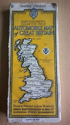 Bartholomew's Quarter Inch Automobile Map of Great Britain Dumfries-Stranraer 8