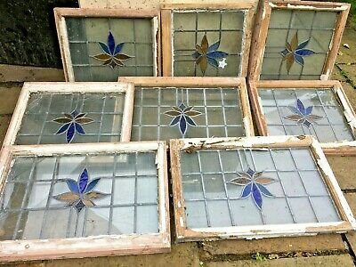 Antique reclaimed stained glass windows x 8