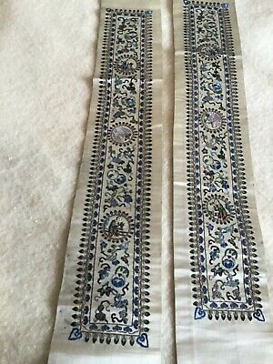 Antique CHINESE EMBROIDERY Pair SLEEVE PANELS  c. 1900 EXC CONDITION