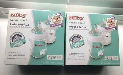 8oz Age 0 Brand New Nuby Natural Touch Reduce Reflux Baby Bottles 2 x 240ml