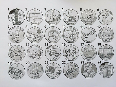 50p COINS FIFTY PENCE SNOWMAN OLYMPICS BEATRIX POTTER ISAAC NEWTON WWF Team GB