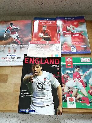 England Wales Rugby Union International Match Programmes signed Great condition