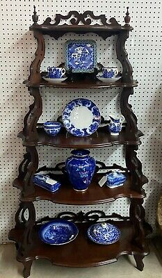 Antique American Carved Walnut Five Tier Waterfall Entry Etagere Hand Circa 1800