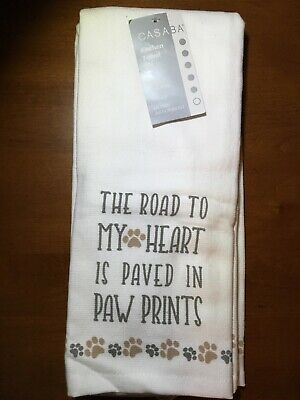 Home Cookware, Dining & Bar Supplies Kitchen Textiles Cat Lovers Cotton Flour Sack Towel The Road to My Heart is Paved with Paw Prints