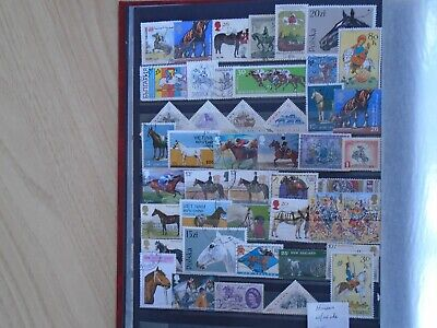 Horses.  Worldwide from private collection. 45 different Stamps. high Value.