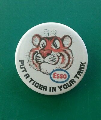 """Retro style Esso  """"Put a tiger in your tank"""" petrol/oil badge. 38mm pin badge"""