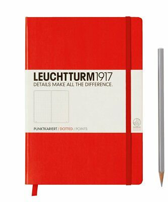 Leuchtturm1917 A5 Medium Hardcover Journal, Dotted, Red