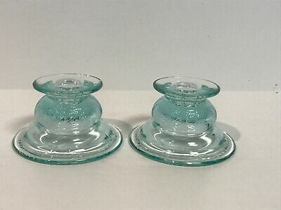 Set Indiana Glass Recollection Madrid Candlesticks Light Blue Candle Holder Pair