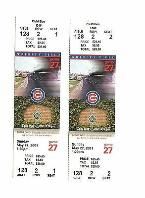 Chicago Cubs Vs Milwaukee Brewers Unused Baseball Tickets From 5/27/2001