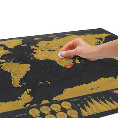 JUMBO SIZE!!! Deluxe Scratch Off World Map Poster Journal Log Wall Sticker Decor