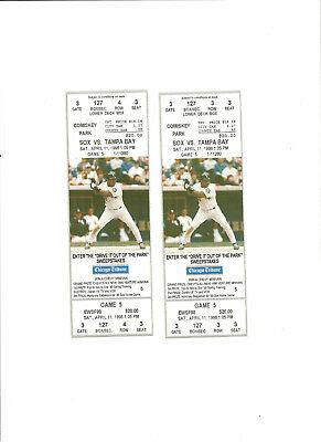 Chicago White Sox Vs Tampa Bay Devil Rays Unused Baseball Tickets From 4/11/1998