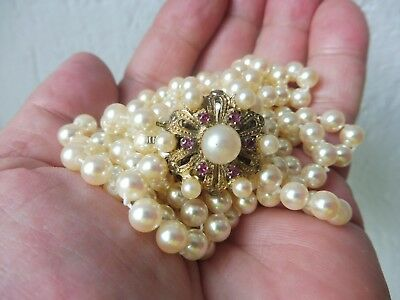 Beautiful Old Pearl __ 3 Rows Noble Gold Plated 925 Silver Buckle__