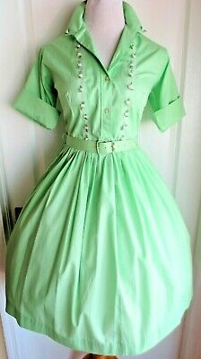 5bf140e77e8 vintage 50s mint green white rose buds trim shirt dress full skirt matching  belt