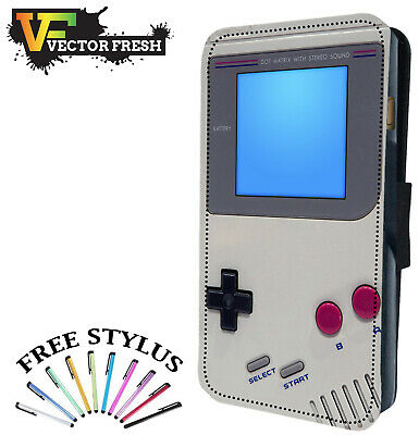 Retro Game Boy Hand Held Console - LEATHER FLIP WALLET PHONE CASE COVER + STYLUS