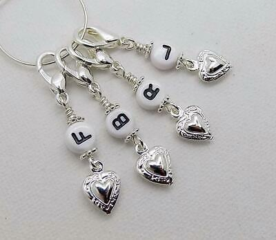 FRONT BACK LEFT & RIGHT Knitting Stitch Markers With Silvertone Hearts - CLAWS