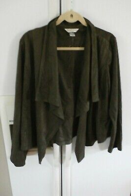 ba540090 LNC christopher & banks modern faux suede drape cardigan jacket brown L
