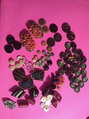 LOT 2 Vintage & Antique Bakelite Moonglow Celluloid Metal Mother of Pearl Glass