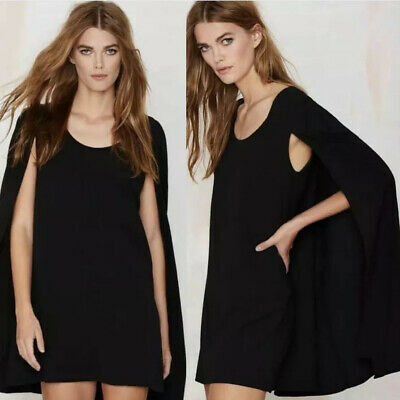 4aa620b84ade GUC NASTY GAL Black CATHERINE Gothic Dramatic CAPE COCKTAIL SHIFT MINI Dress  XS