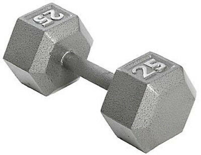 Dumbbell 25 lb Hex Cast Iron Training Upper Body Knurled Handle Grip Home Gym