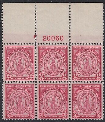 TDStamps: US Stamps Scott#682 2c Mint 5NH 1LH OG Perf Separated, P#Block of 6