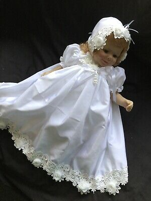 "Reborn Doll Dress Set. White/Venise Lace 19-21""."
