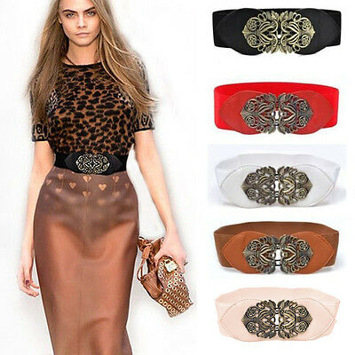 Women Vintage Elastic Waist Wide Belt Lady Stretch Cinch Corset Buckle Waistband