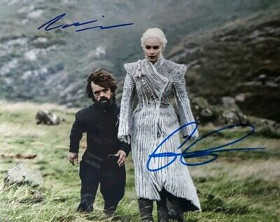 Emilia Clarke & Peter Dinklage Hand Signed 8X10 Photo W/HoloCOA Game of Thrones