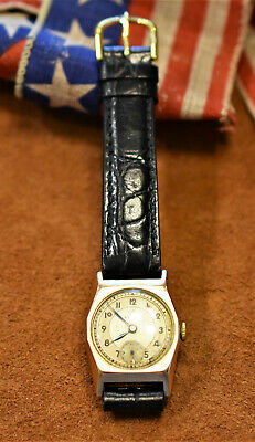 c1940 Manual Wind Record cal 107 9K (.375) Solid Gold with new Strap