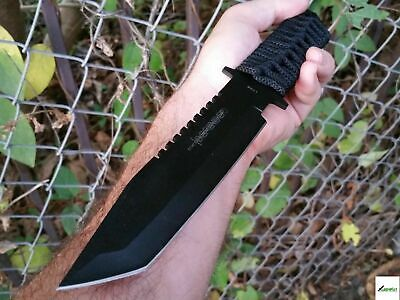 "11"" Tactical Military Tanto Blade Combat Knife w/ Sheath Survival Hunting Fixed"