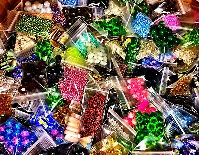 Huge Assorted Lot of Mixed Jewelry Making Supplies Crafts and Beads! 25 bags