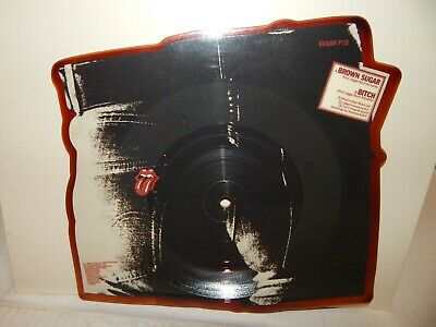 """ROLLING STONES Sticky Fingers Brown Sugar Bitch Shaped 7"""" 45 RPM Single Picture"""