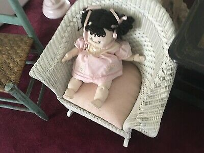 Cabbage Patch Foll And Childs White Wicker Chair
