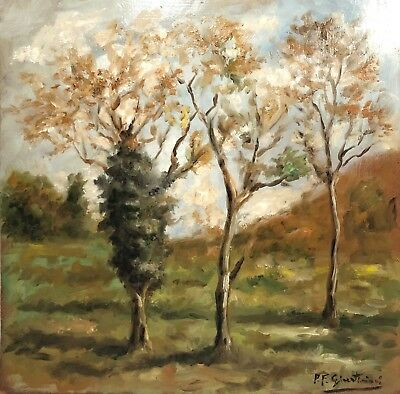 Signed Vintage Impressionist Landscape Study Plein Air Painting On Panel