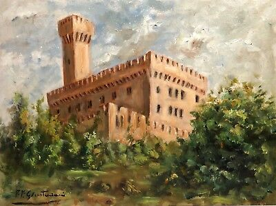 Signed Vintage Impressionist Castle Landscape Study Plein Air Painting On Panel