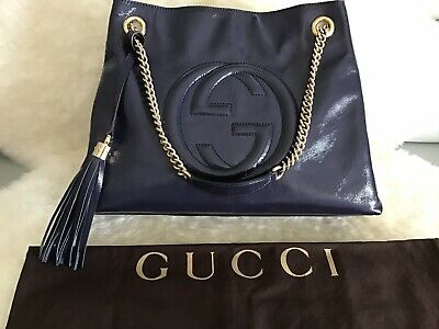 cd6e5413cc01 New Gucci Medium Soho-Handbag-Blue Patent Leather-Chain Shoulder Strap