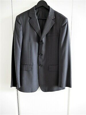 Men's Classic Wool Business Formal Suit Blazer Jacket Stripped Grey