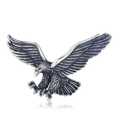 Lifelike Eagle Brooch Pin Crystal Antique Silver Plated Animal Brooches Jewelry