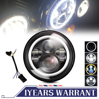 """7"""" LED Motorcycle Projector Headlight Bulb Housing DRL Fit Harley Road King FLHR"""