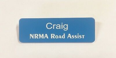 Bulk Order of 8  Light Blue Badges White Text + Pin attached 70x23mm