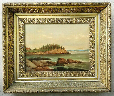 Antique Painting Original 1800's New England Maine Landscape Hudson River School