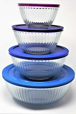 Pyrex 8-piece 4 Glass mixing Bowls with 4 lids