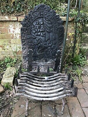 antique Ornamental Cast Iron Fire Back And Grate