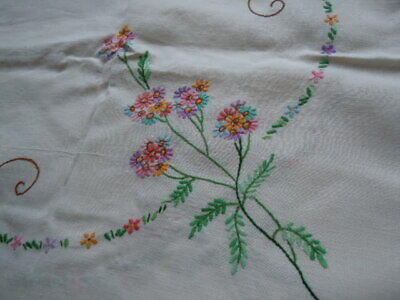 Vintage Large Linen embroidered square table cloth, 50 x 50, beautiful colours