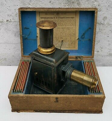 Vintage George Carette Tin Plate Magic Lantern 245 Chimney With Case & Slides